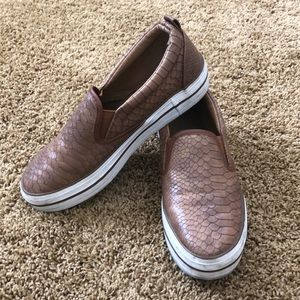 Hype size 8 brown faux snakeskin slip ons